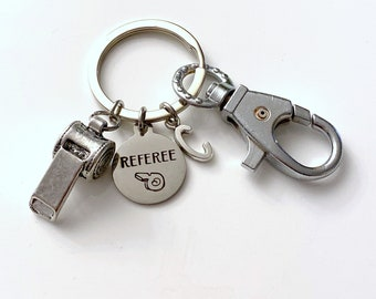 Referee Key Chain, Silver Whistle Keyring, Referee Keychain, Gift for Field Hockey, Soccer, Rugby, Football, Mother's / Father's Day Present