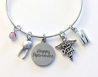 Retirement Gift for DA Bracelet, Dental Assistant Jewelry, Dentist Hygienist Charm Bangle, DH Tooth Silver Medical Caduceus birthstone her