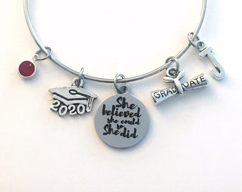 She believed she could so she did Graduation Gift for Her, Grad Charm Bracelet Present for Daughter, Granddaughter, Niece Best Friend 2020