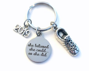Running Key Chain, 2019 Track Keychain, Gift for Marathon Run Keyring Jewelry Cross Country Runner Sneaker long distance She believed