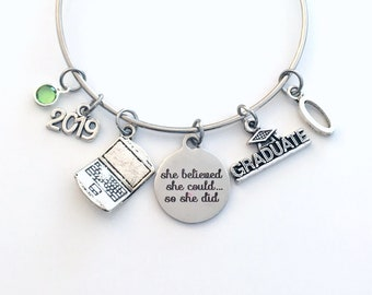 Computer Science Graduation Gift, 2019 Engineer Grad Jewelry for Software Design Bracelet Silver Bangle Graduate Laptop Charm her Business