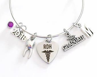RDH Graduation Gift for Dental Hygienist, 2018 Jewelry Charm Bracelet, Bangle Registered Oral Tooth School Student Silver Graduate assistant