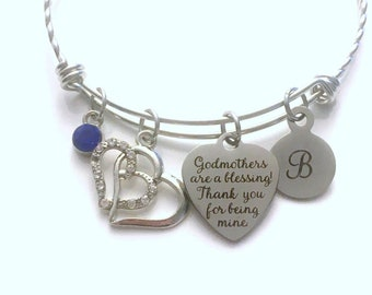 Godmother Bracelet, Gift for God Mother Charm Bangle, Godmothers are a blessing! Thank you for being mine Stainless Steel Jewelry present