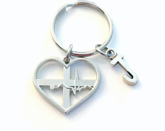 Heart Beat Key Chain, Heartbeat Keychain, Love Silver EKG ECG Keyring, Medical Gifts for nurse present, Doctor Dr silver men women her him