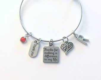 Thank you Bracelet, Gift for Volunteer Jewelry, Thanks for making a difference in my life Charm Bangle, Step Mother Foster Mom Appreciation