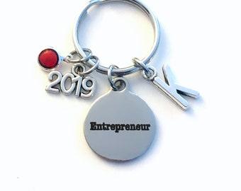 Gift for New Business Owner Keychain, 2019 Entrepreneur Key Chain, Start up Venture Birthstone Initial Present Jewelry Keyring women men her