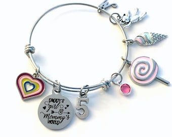 5th Birthday Gift for Girl Charm Bracelet 55mm / Turning 5 Present for Her / Daddy's Girl & Mommy's World / Silver Daughter Jewelry