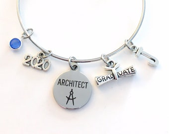 Graduation Gift for Architect, 2020 Architectural Technology Charm Bracelet Grad Silver Bangle Jewelry letter birthstone women her