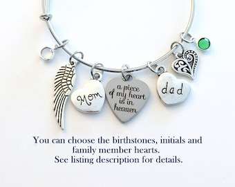Parent Memorial Jewelry, A Piece of My Heart is in Heaven Bracelet Loss of Mom Dad Brother Sister Son Family Bangle Guardian Angel Wing her