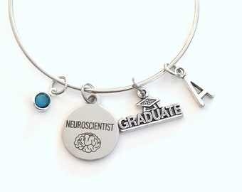 Gift for Neuroscientist Graduation Bracelet, Neurologist Student Grad Bangle, Jewelry Neurology Charm Scroll Initial women her present