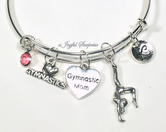 Gift for Mother's Day Charm Bracelet, Gymnastic Mom Bangle Jewelry, Gymnast Mom Silver Personalized Birthstone Initial Custom Birthday her