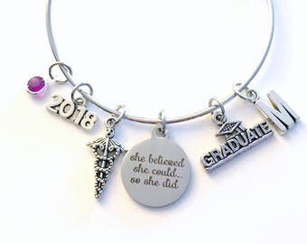 Medical Caduceus Charm Bracelet 2019 Graduation Gift Grad Jewelry present Doctor Vet Graduate Initial She believed she could so she did her