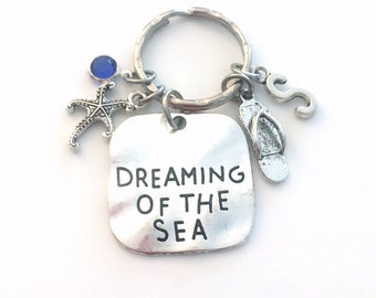 Dreaming of the Sea Key Chain, Starfish & Flip Flop Keychain, Beach Theme Gift for Daughter Keyring, Sea Creature, Marine Animal Wedding