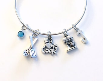 Cook Charm Bracelet, Gift for Cooking Instructor Bangle, Restaurant Owner Present, Silver Love to Chef, Mixer Spatula Utensils Waitress her