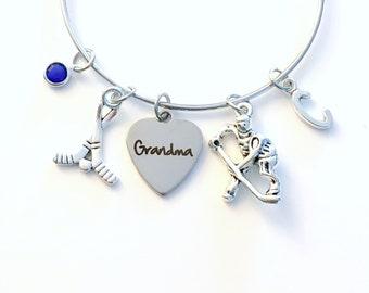 Hockey Grandma Bracelet / Hockey Bangle / Birthday Jewelry / Christmas or Mother's Day present / Goalie or Player Gift for Grandmother