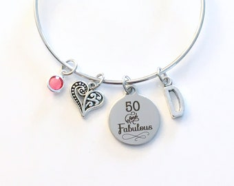 50th Birthday Gift for Women Jewelry, Mom Bracelet, Fifty and Fabulous Charm Bangle, Silver 50 present, mum Mother Woman her, Best Friends