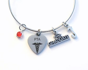 PTA Graduation Gift / Physical Therapist Assistant Charm Bracelet / Grad Silver Bangle / PT Jewelry / Graduate letter birthstone her women