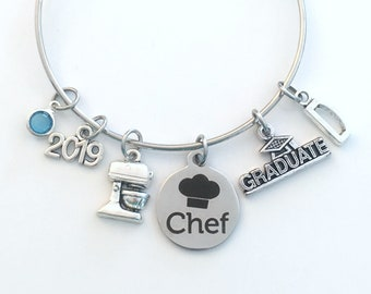 Graduation Gift for Chef Charm Bracelet, 2019 Student Grad Bangle, custom initial birthstone letter Jewelry Graduate Pastry Line Cook