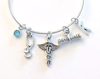 Graduation Gift for Vet Bracelet, Veterinarian Jewelry, Animal Doctor Charm Bangle, V Silver Medical Caduceus Stethoscope birthstone her