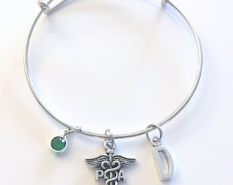 Physician Assistant Bracelet, PA Jewelry, Doctor Assist Charm Bangle, Silver Medical Caduceus, Gift for women birthstone her letter initial