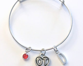 OT Bracelet, Occupational Therapist Jewelry Therapy, Charm Bangle, Silver Medical heart, Gift for women birthstone her letter initial simple