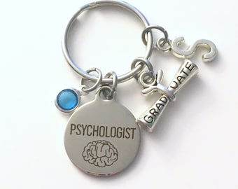 Psychologist Keychain, Graduation Gift for Psychology Key Chain, Psych Student Keyring Initial letter men women her him doctor birthstone