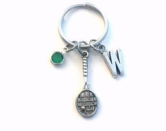 Gifts for Racquetball Player Keychain, Squash Racket Key Chain, Squash Keychain, Silver Tennis Keyring, Badminton Racquet Ball Jewelry Coach