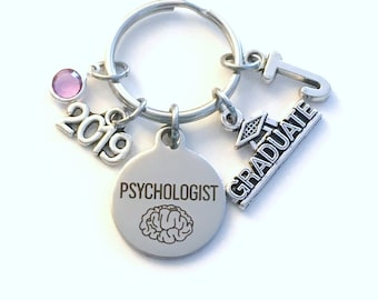 Graduation Gift for Psychologist Keychain, 2019 Psych Student Psychology Grad Key Chain Doctor Keyring Graduate initial letter him her