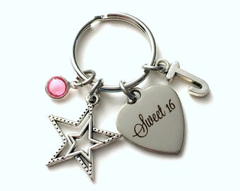 Gift for Sweet 16 Keychain, Sixteenth Birthday Key Chain, Daughter Keyring, Star Actress Performer Dancer Initial Present Jewelry niece her
