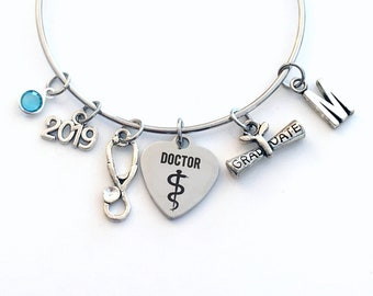 Doctor Graduation Bracelet, 2019 Medical Student Present Gift for Resident Grad Silver Bangle PH. D Jewelry Dr initial birthstone her