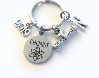Chemist Graduation Gift, 2019 Chemistry Student Keychain for Science Student Grad Key Chain Keyring Graduate initial letter custom 2020