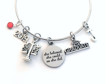 Gift for Legal Secretary Graduation Bracelet, 2019 Lawyer Grad Gift, Law Assistant Student Graduate, she believed Bangle Jewelry Charm