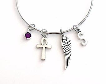 Ankh Bracelet, Gift Jewelry Present, Stainless Steel, Jewish Religion Cross Charm, Wing Egyptian Symbolism, Women mom daughter protection