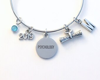 Gift for Psychology Graduation Bracelet 2019, Student Grad Silver Bangle University Jewelry, College Charm Psychologist her Woman Women