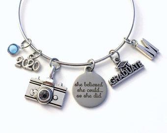 Photography Graduation Bracelet, 2020 Photographer Grad Gift for Student, She Believed initial birthstone letter custom present her women