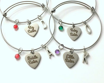Sister Bracelets for 4, 3, 2 or 1 / Gift for Baby, Middle, Little & Big Sisters / Stainless Steel / Matching Jewelry