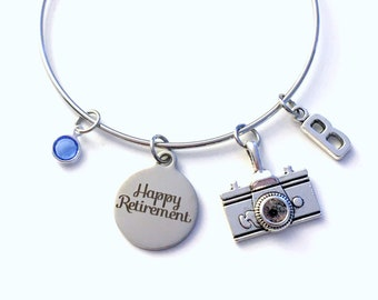 Retirement Gift for Photographer, 2020 Photography Camera Charm Bracelet Jewelry Silver Bangle Coworker initial birthstone Present her