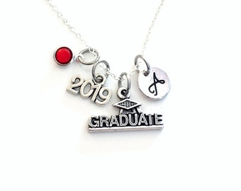 "Graduate Necklace, 2019 Graduation Gift for Student, Silver Grad initial Birthstone custom personalized 18"" 20"" 16"" long short chain Jewelry"