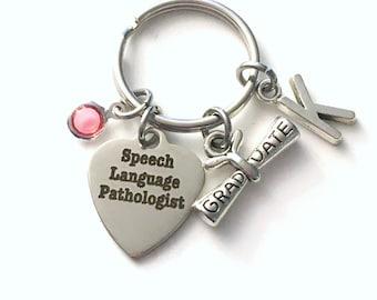 Speech Language Pathologist Graduation Gift Keychain, SLP Key Chain, ST Keyring Initial letter men women her him scroll Therapist Therapy