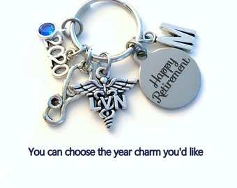 Retirement Gift for LVN Keychain, 2020 Licensed Vocational Nurse Key Chain, Stethoscope Keyring for her men letter initial him Nursing women