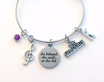 Gift for Music Student Charm Bracelet, Musician Graduation Jewelry, She believed she could so she did Bangle, musical instrument band piano