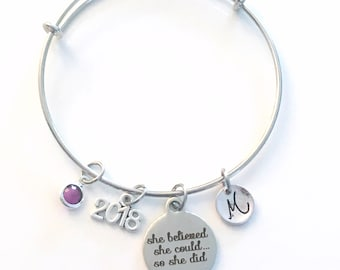 High School Graduation Gift for Achievement, 2018 She believed she could so she did, Job promotion Customized Jewelry, Bracelet Silver 2019