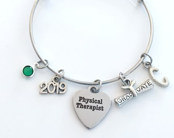 PT Graduation Gift, Physical Therapist Therapy Grad Charm Bracelet, 2019 Silver Bangle Jewelry Graduate letter birthstone her women girl HER