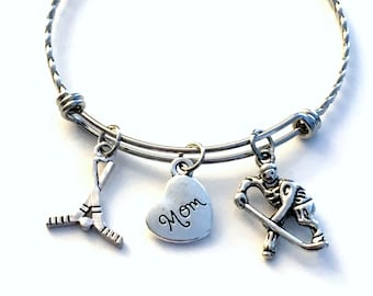 Hockey Mom Bangle Bracelet, Hockey Jewelry, Gift for Grandma, Aunt, Daughter, Sister, Silver Ornate Bangle, Birthday Present Her Mothers day