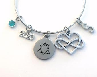 Adoption Day Bracelet, Gotcha 2020 Gift for New Mom Jewelry Adopt Symbol Charm, initial Birthstone Birthday Present infinity symbol heart