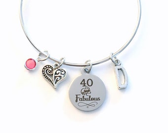 40th Birthday Gift for Women Jewelry, Mom Bracelet, Forty and Fabulous Charm Bangle, Silver 40 present, mum Mother Woman her, Fortieth BFF