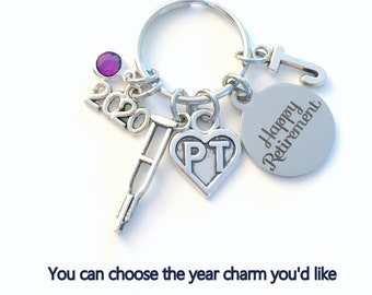 Retirement Gift for PT Keychain, 2020 Physical Therapist Key Chain, Therapy Keyring, Crutches Crutch for her men letter initial him women