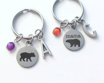Mama Bear Keychain, Set of 1 2 3 4 5 6 Baby Grandma Gift for Mom Key Chain, Keyring Matching Pair Mommy Mother's Day present her kids child