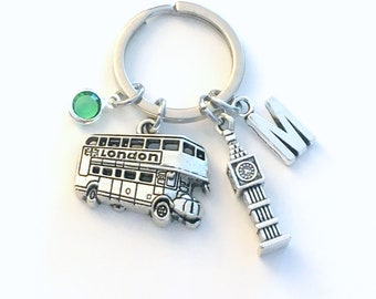 London KeyChain, Big Ben Key chain, Coach Double Decker Bus Keyring Gift for Traveler England I love Jewelry Personalized Initial Birthstone