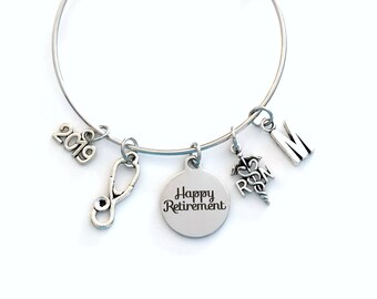 Retirement Gift for Women RN Nurse, 2019 Charm Bracelet Jewelry Silver Bangle Coworker Head initial initial Present woman Nursing